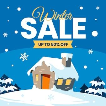 Winter verkoop concept in plat ontwerp