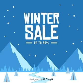 Winter verkoop geometrische bergen achtergrond