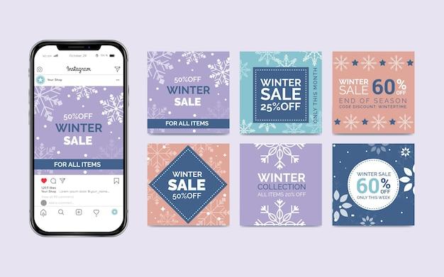 Winter verkoop instagram-berichten