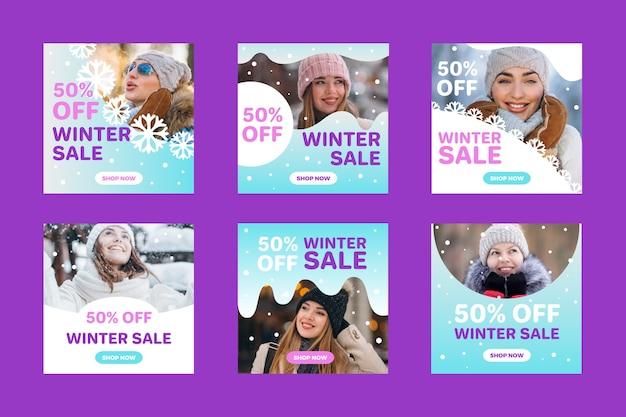 Winter verkoop instagram post collectie