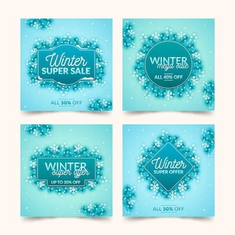 Winter verkoop instagram posts pack