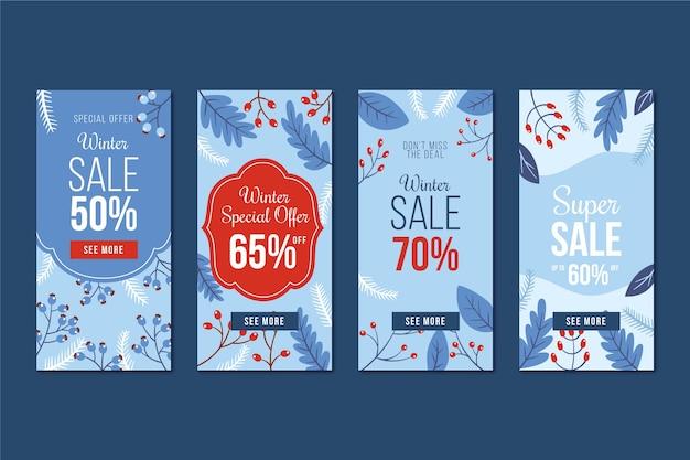 Winter verkoop instagram verhaalcollectie en maretak