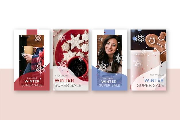 Winter verkoop instagram verhalen