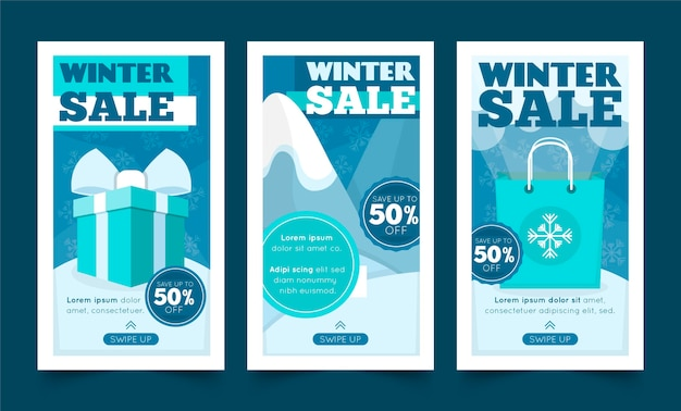 Winter verkoop instagram verhalencollectie