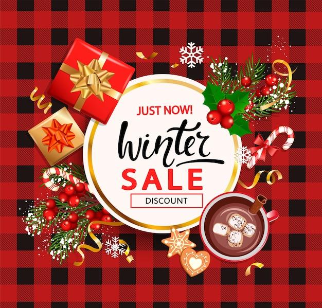Winter verkoop kaart voor het winkelseizoen