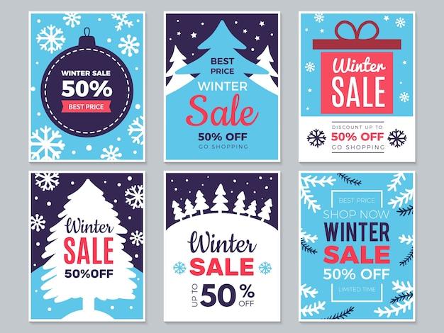 Winter verkoop kaarten. kerst promobanners met grote kortingen en speciale seizoensaanbiedingen labels