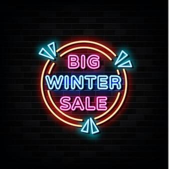 Winter verkoop neon teken banner