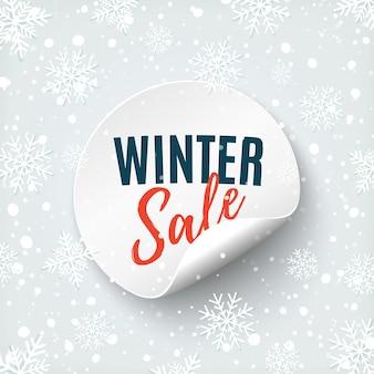 Winter verkoop ronde banner. prijskaartje geïsoleerd op een witte achtergrondkleur. promotie badge.