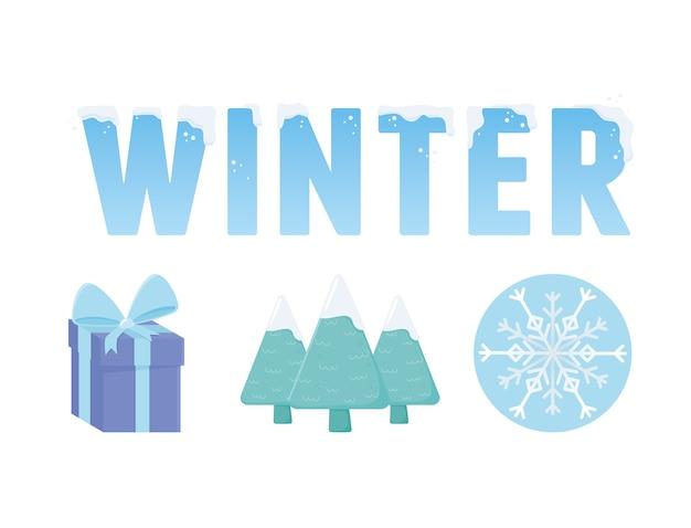 Winter verkoop sneeuw woord geschenk boom en sneeuwvlok illustratie