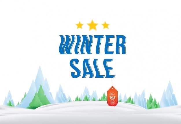 Winter verkoop tag met label op de natuur. element voor prettige kerstdagen en een gelukkig nieuwjaar.