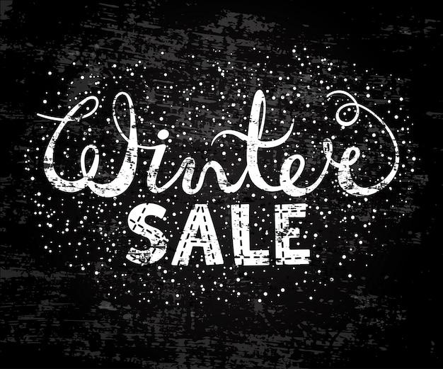 Winter verkoop tekst belettering