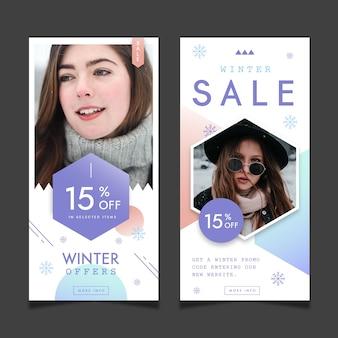 Winter verkoop verhalen ingesteld