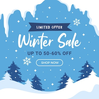 Winter verkoop vierkante achtergrond sociale media instagram post