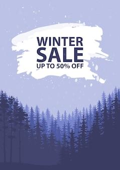 Winter verkoop woorden op de mooie platte chrismas winter vakantie landschap achtergrond met bomen, sneeuwvlokken, vallende sneeuw. vector illustratie