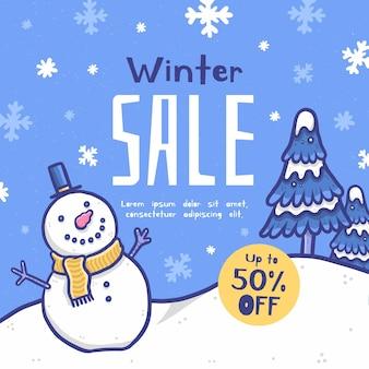 Winter verkooppromotie met getekende elementen