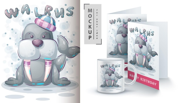 Winter walrus poster en merchandising. vector eps 10