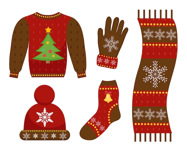 Winter warme kleren pictogrammenset, vlakke stijl. kerstkleding, kledingcollectie met patronen. muts, sjaal, handschoenen, trui. geïsoleerd op witte achtergrond. illustratie.