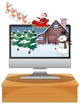 Winter xmas op het bureaublad van het computerscherm