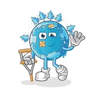 Winteraarde ziek met hinkend stokkarakter. cartoon mascotte