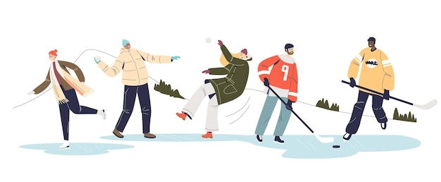 Winteractiviteiten met tekenfilms die hockey en sneeuwballen spelen en schaatsen op de ijsbaan. gelukkige jonge mensen die plezier hebben in het winterseizoen. platte vectorillustratie