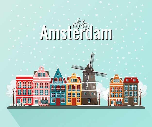 Winteramsterdam. oude europese stad.