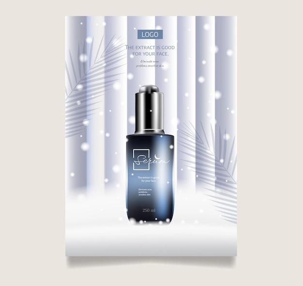 Winterbehandeling en huidverzorging cosmetische verkoop banner poster ontwerpsjabloon realistische 3d illustratio