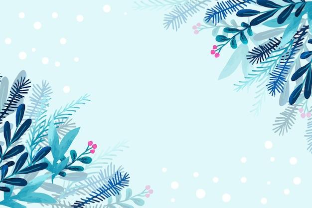 Winterbehang gemaakt met aquarellen