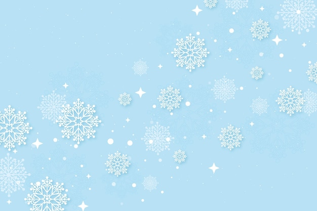 Winterbehang in papieren stijl met sneeuwvlokken