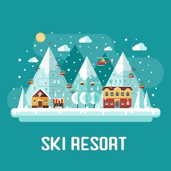 Winterberglandschap met skioord met kabelbanen, medicijntenthuis en sneeuw