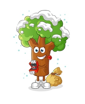 Winterboom voorstellen en ring vasthouden. cartoon mascotte