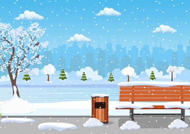 Winterdag park scène.