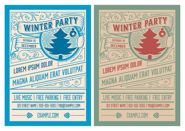 Winterfeest flyer retro typografie en ornament decoratie. kerstvakantie uitnodiging of posterontwerp. .