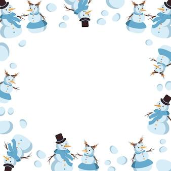 Winterframe met lachende sneeuwmannen en sneeuwballen vrolijke feestelijke rand nieuwjaarsdecoraties winter en...
