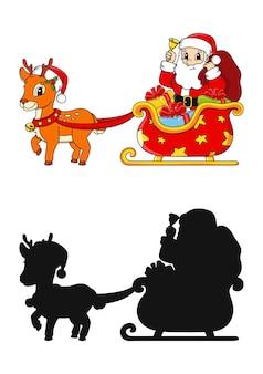 Winterhert met slee kerstman met cadeau zwart silhouet