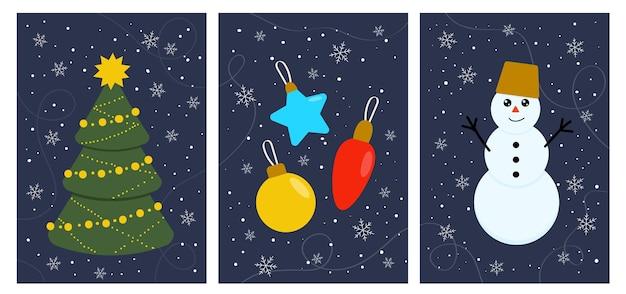 Winterkaarten kerstboom sneeuwpop