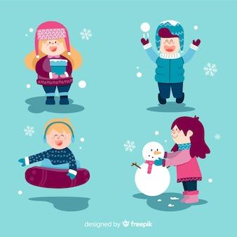 Winterkinderen hebben plezier