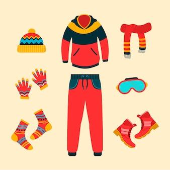 Winterkleding en essentials in vlakke stijl