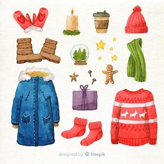 Winterkleding en kerstversiering
