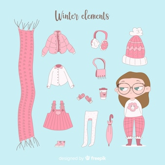 Winterkleren en essentials ingesteld