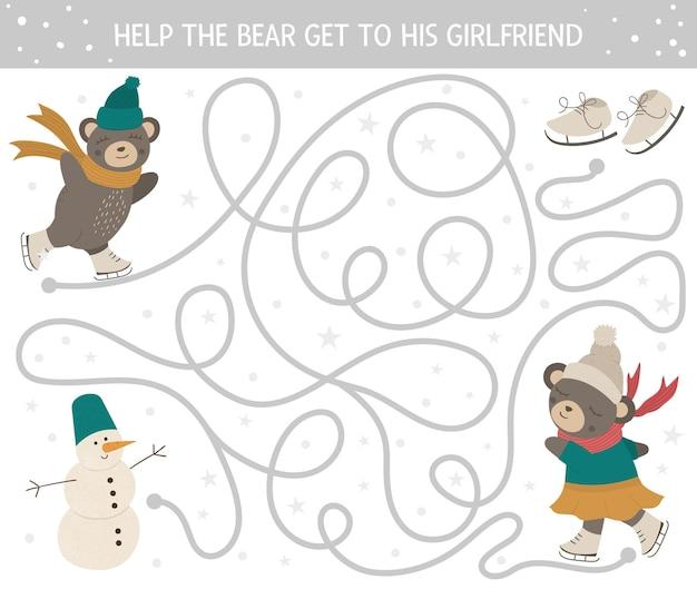 Winterlabyrint voor kinderen. voorschoolse kerstactiviteit.