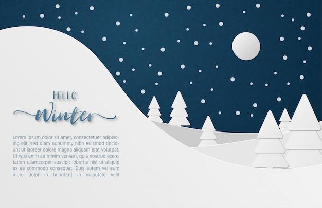 Winterlandschap banner in papier gesneden stijl