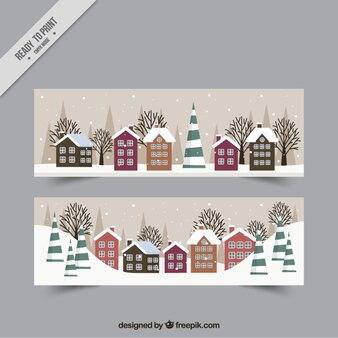 Winterlandschap banners met huizen in plat ontwerp