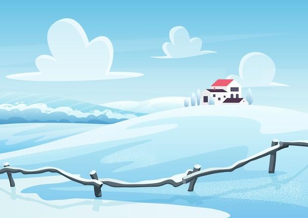 Winterlandschap cartoon. huizen op besneeuwde heuvel. landelijk gebied in koude dag. frosty uitzicht op de natuur. platteland in de winter. nieuwjaar en kerstkaart ontwerp. seizoensgebonden achtergrond