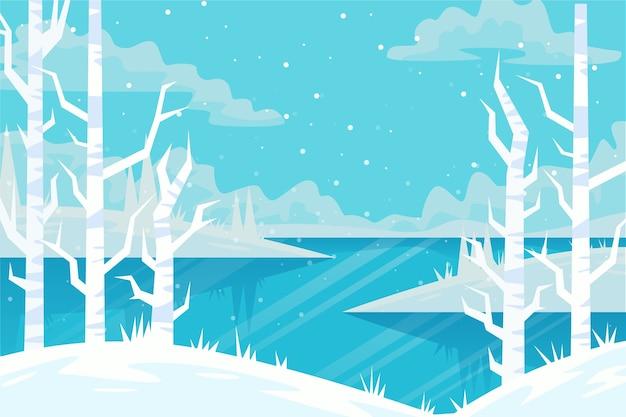 Winterlandschap concept in plat ontwerp