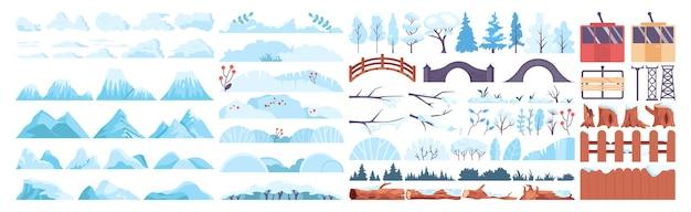 Winterlandschap constructor set. bevroren bomen, struiken, bergen collectie. prachtige wilde natuur in sneeuw, december bevriezend landschap. platte vectorillustratie