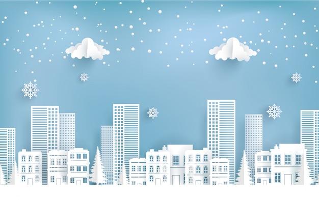 Winterlandschap in de stad. vrolijk kerstfeest.
