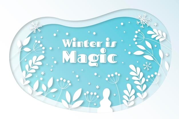 Winterlandschap in papieren stijl met planten