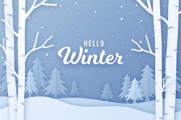 Winterlandschap in papieren stijl