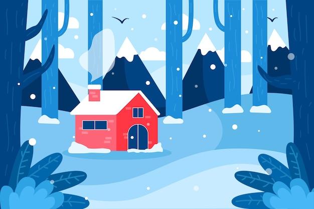 Winterlandschap in plat ontwerp