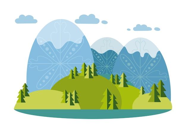 Winterlandschap in vlakke stijl bergen heuvels bomen vector illustratie milieu natuur buiten